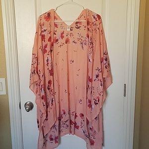 Charming Charlie Pink Floral Kimono